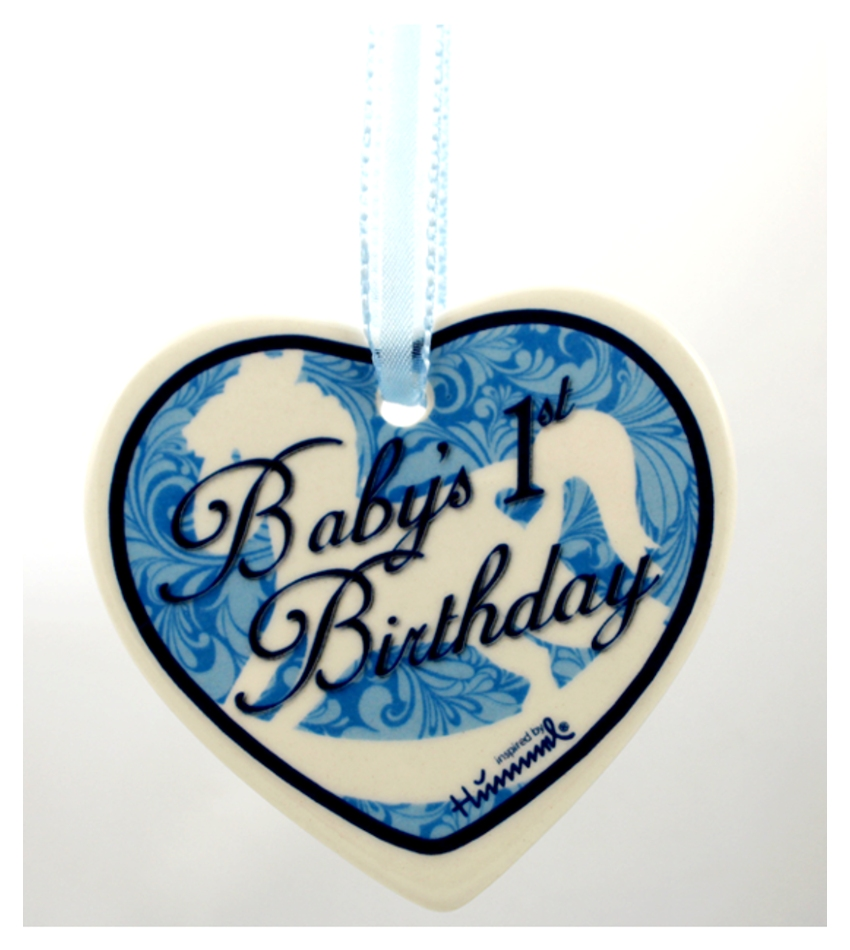 610005 - Baby's First Birthday Blue Heart Ornament