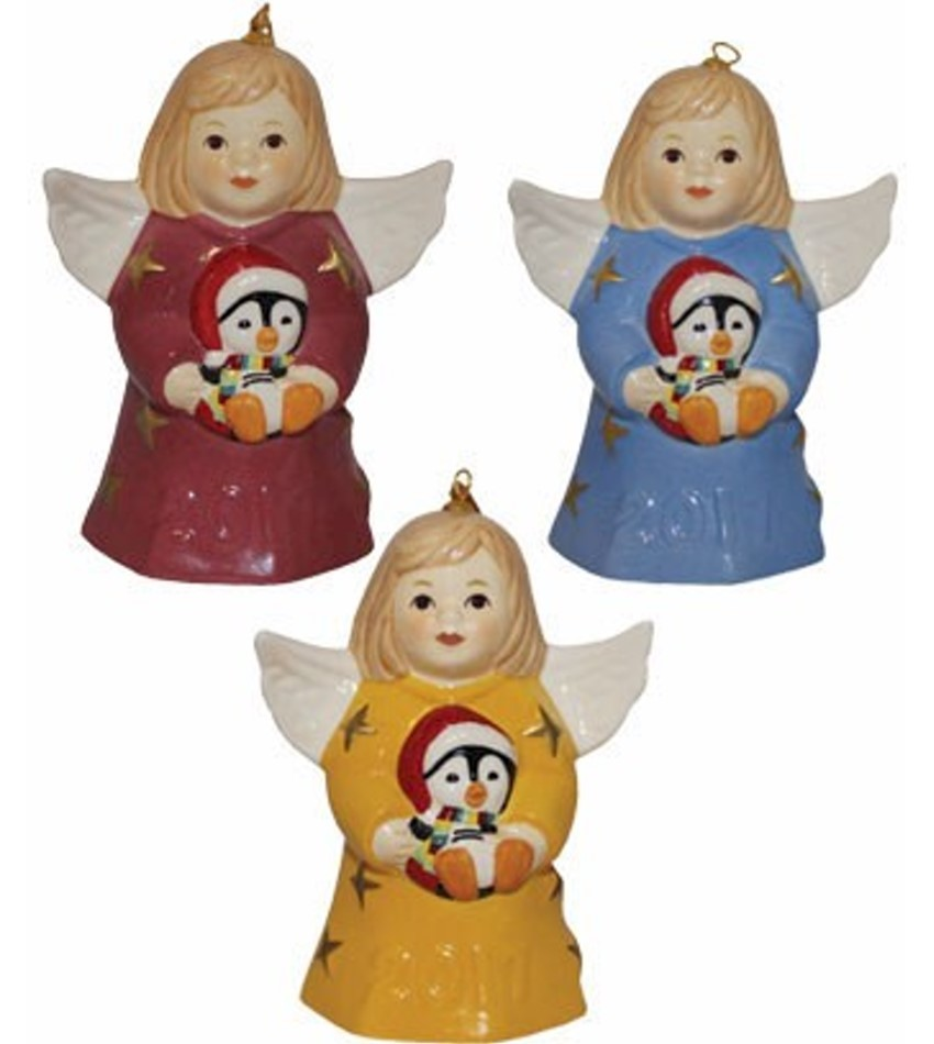 Goebel christmas ornaments - G112300 2017 Goebel Annual Angel Bell Colored Set Of 3